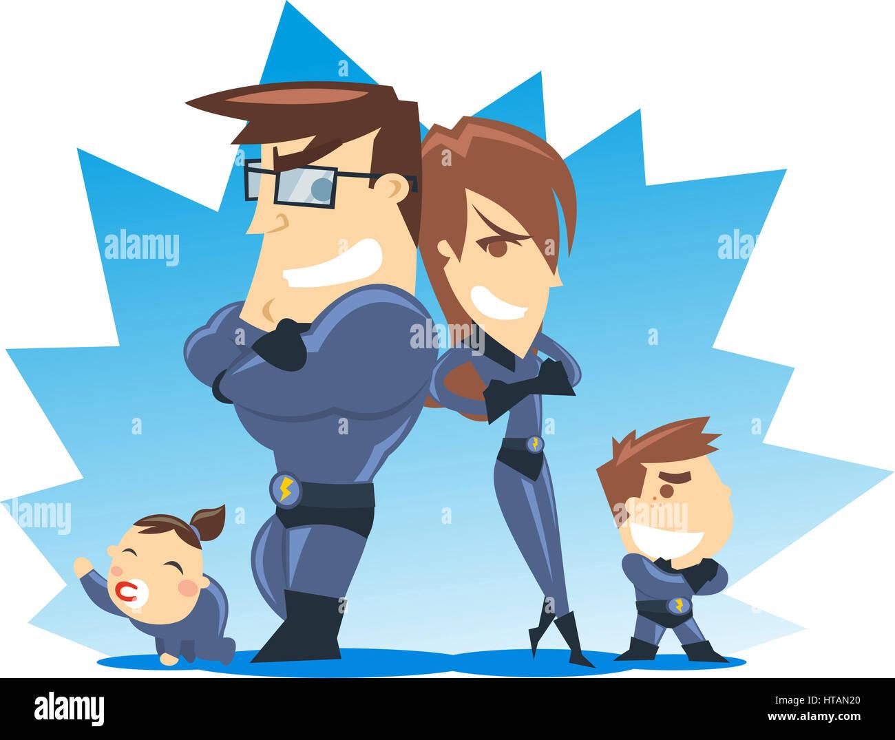 Famiglia di supereroi scaricare vettori gratis