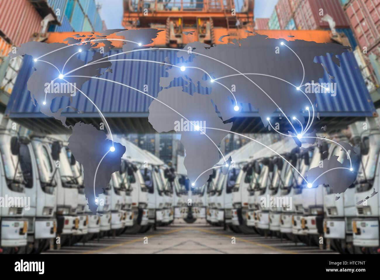Mappa logistica globale di partenariato il collegamento del contenitore merci nave per la logistica Import Export Immagini Stock