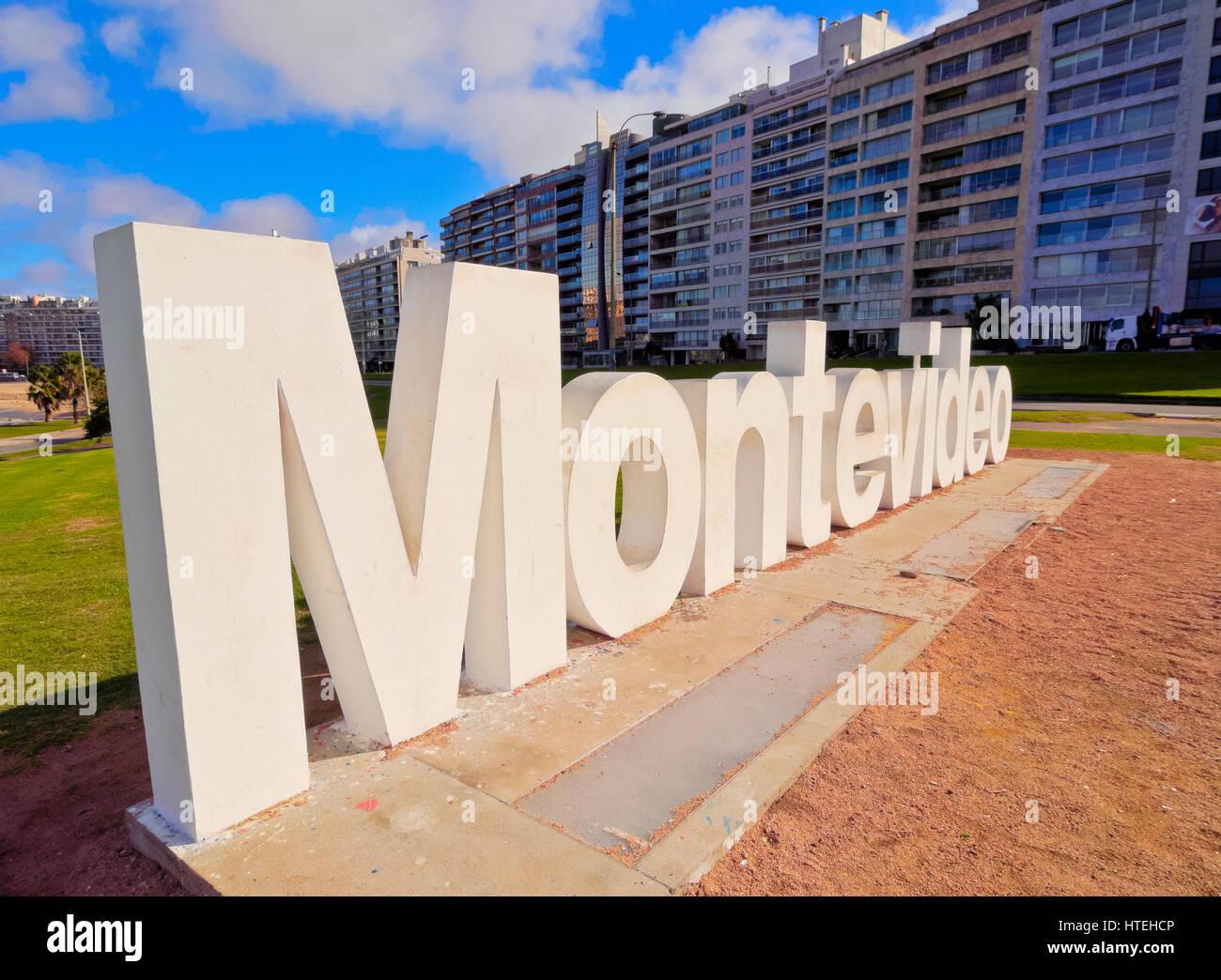 Segno di Montevideo, Pocitos, Montevideo, Uruguay Immagini Stock