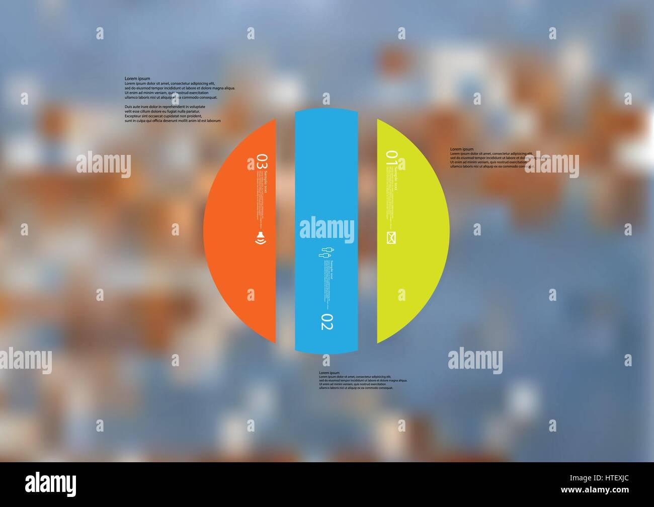 Illustrazione modello infografico con motivo del cerchio diviso verticalmente a tre colori sezioni standalone. Foto Immagini Stock