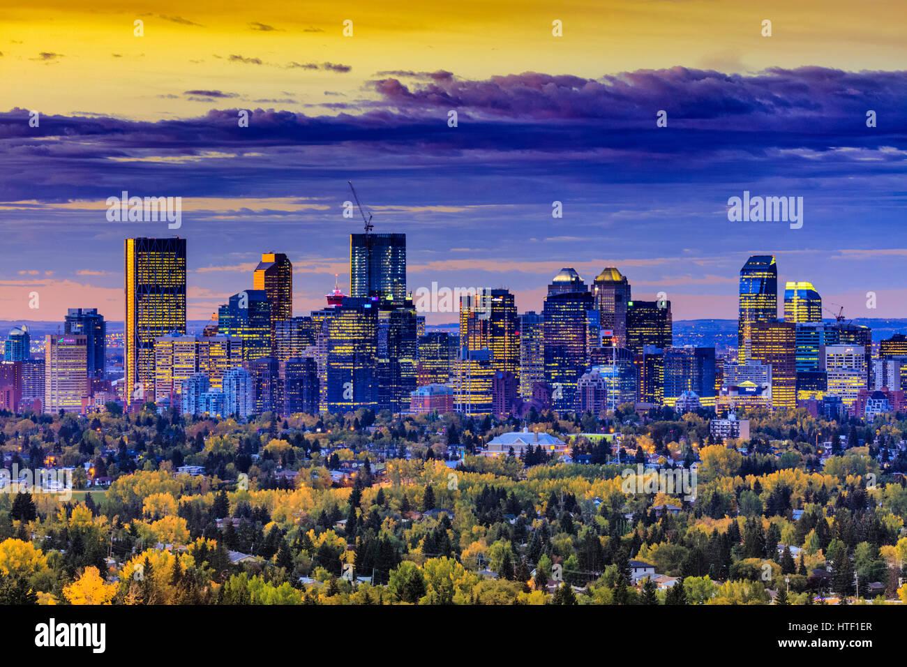 Downtown Calgary skyline di sunrise, Alberta Immagini Stock