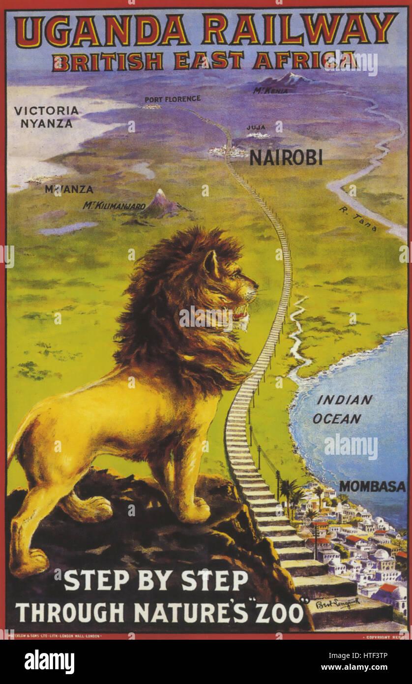 UGANA azienda ferroviaria poster su 1890 Immagini Stock