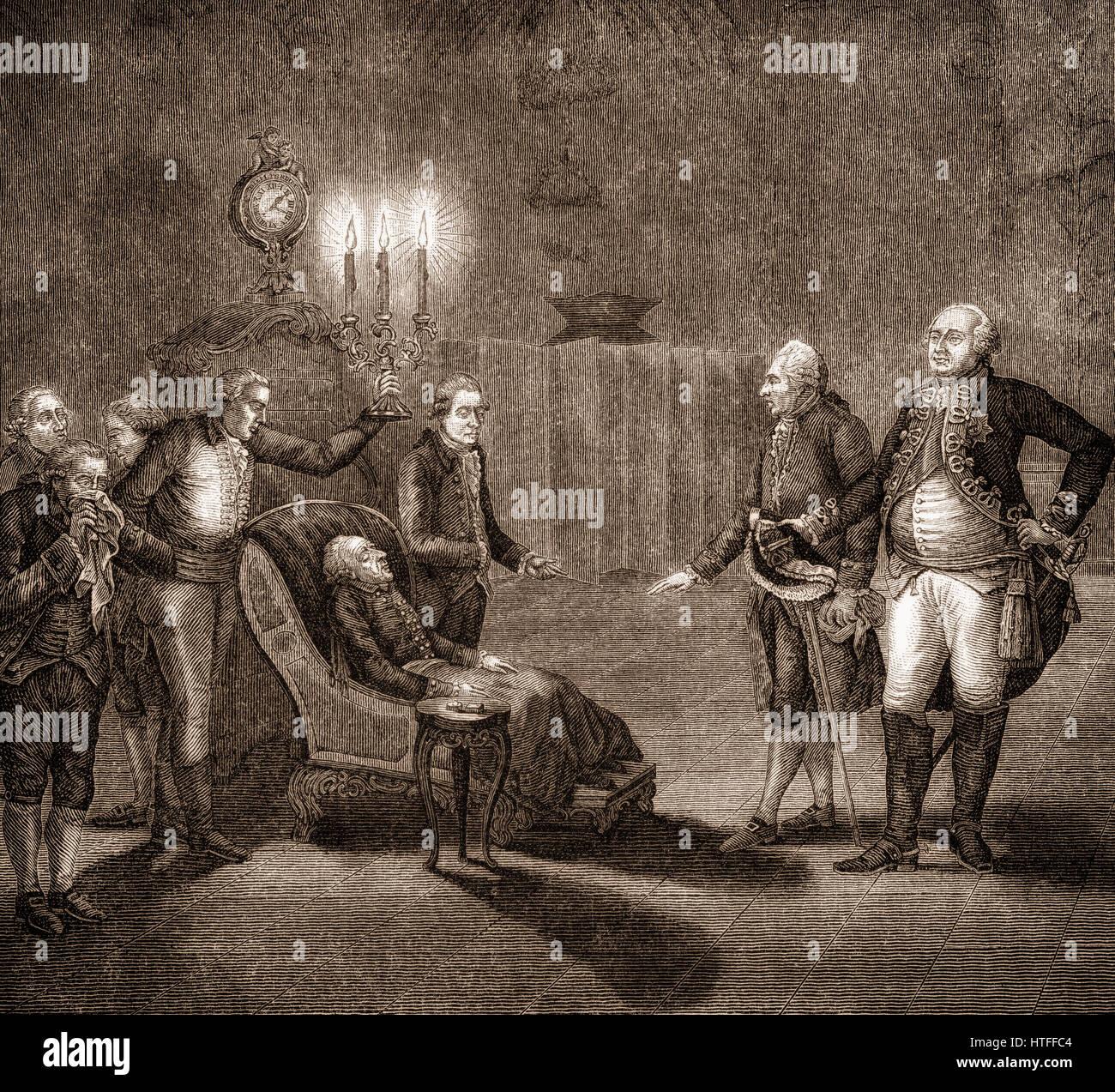 Federico II o di Federico il Grande, 1712-1786, King of Prussia, morente, il palazzo Sanssouci, Potsdam, Germania Immagini Stock