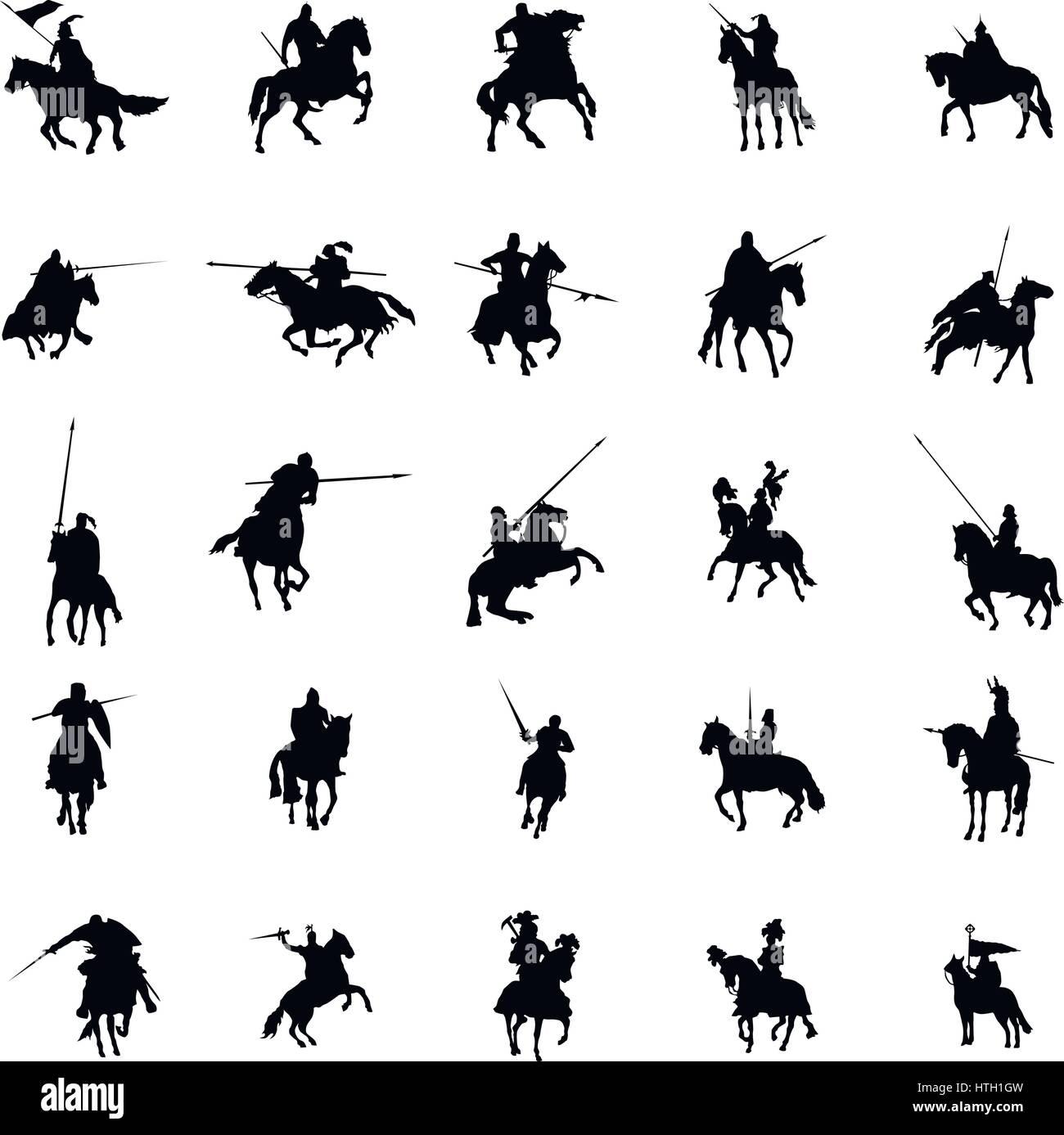 Cavaliere e cavallo set di silhouette Immagini Stock