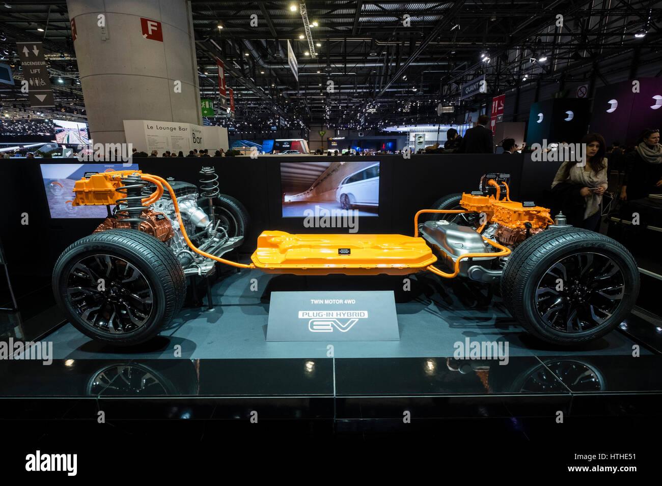 Mitsubishi EV hybrid powertrain elettrico sul display a 87th Geneva International Motor Show di Ginevra Svizzera Immagini Stock
