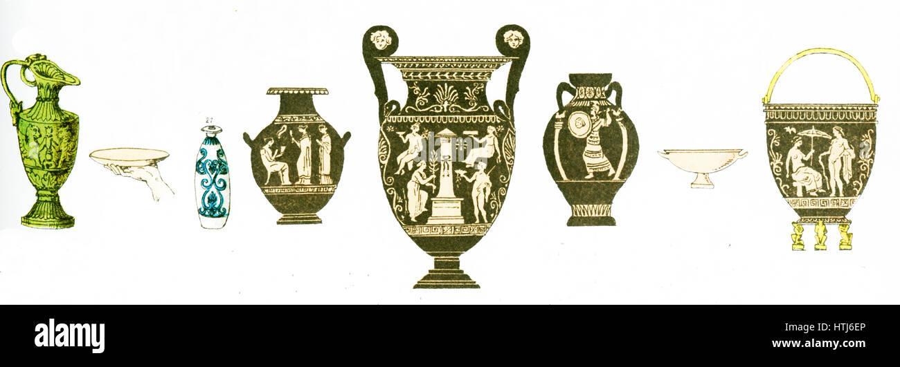 L'illustrazione mostra qui antichi vasi greci.L'illustrazione risale al 1882. Immagini Stock