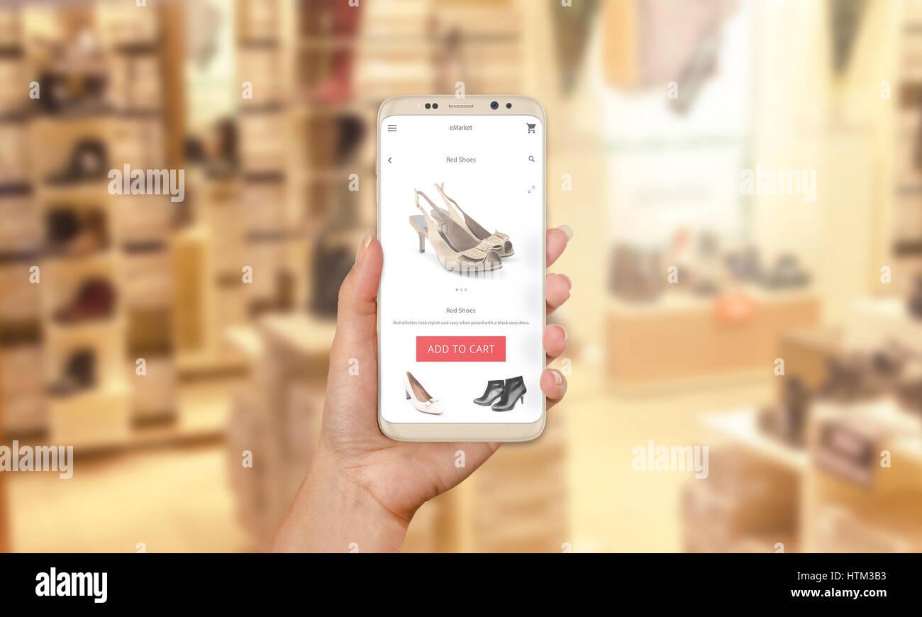 Donna comprare scarpe online con moderno mobile app