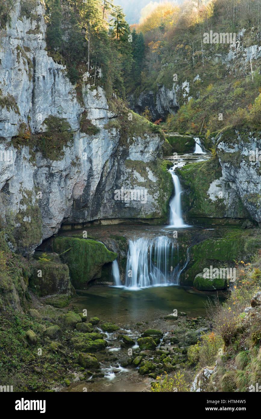 Cascata de la Billaude, Franche-Comté, Francia Foto Stock