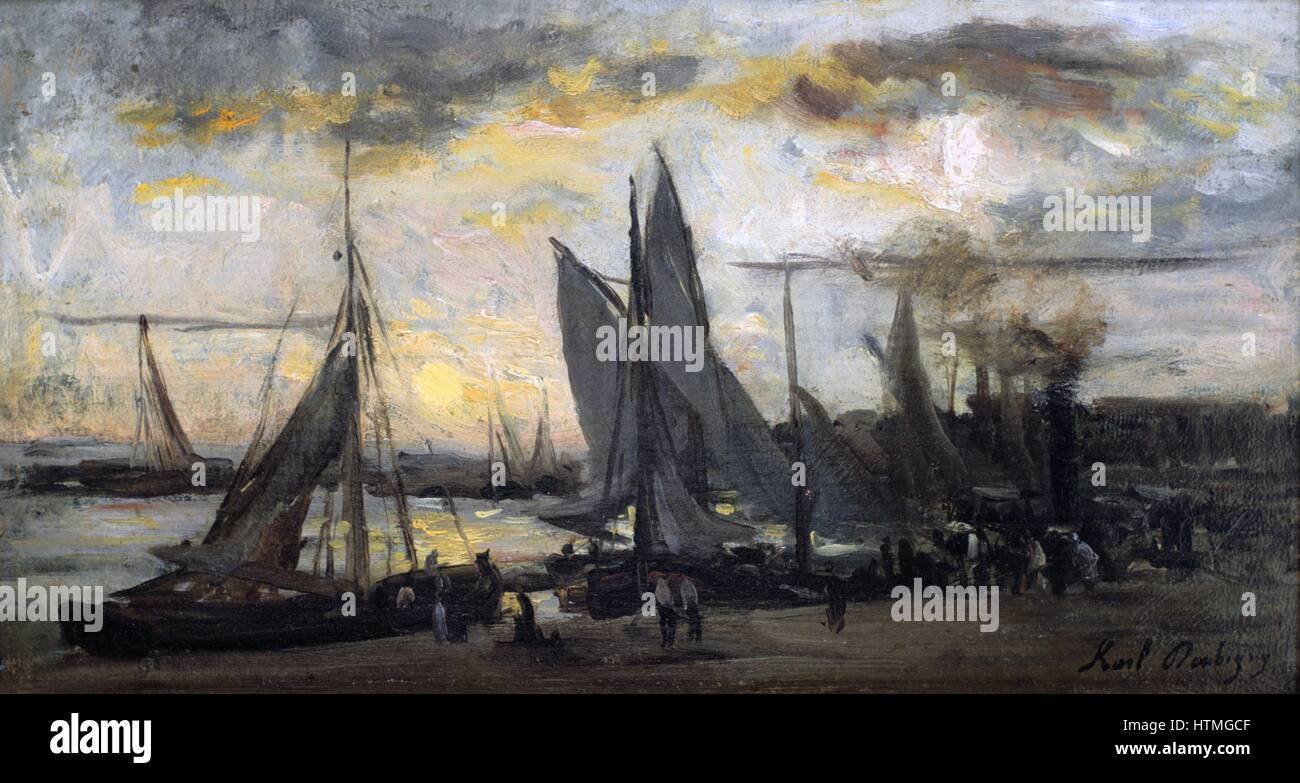 """Il ritorno della flotta di pesca"""": olio su pannello. Karl Daubigny (1846-1886) francese pittore impressionista. Immagini Stock"""