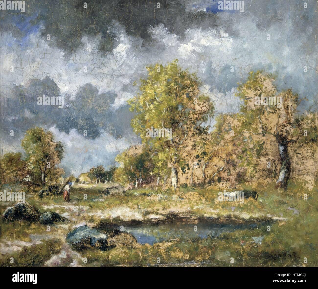 La piscina': olio su pannello. Nacisse Diaz de la Peña (1801-1876), pittore francese. Piscina in un campo Immagini Stock