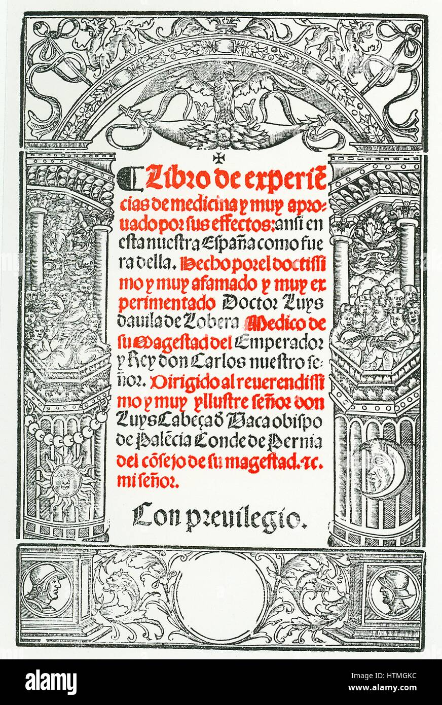 "Pagina del titolo di ""Libro de Experiencias de Medicina', Toledo, 1544, da Luis Lobera de Avila. Nato a Immagini Stock"