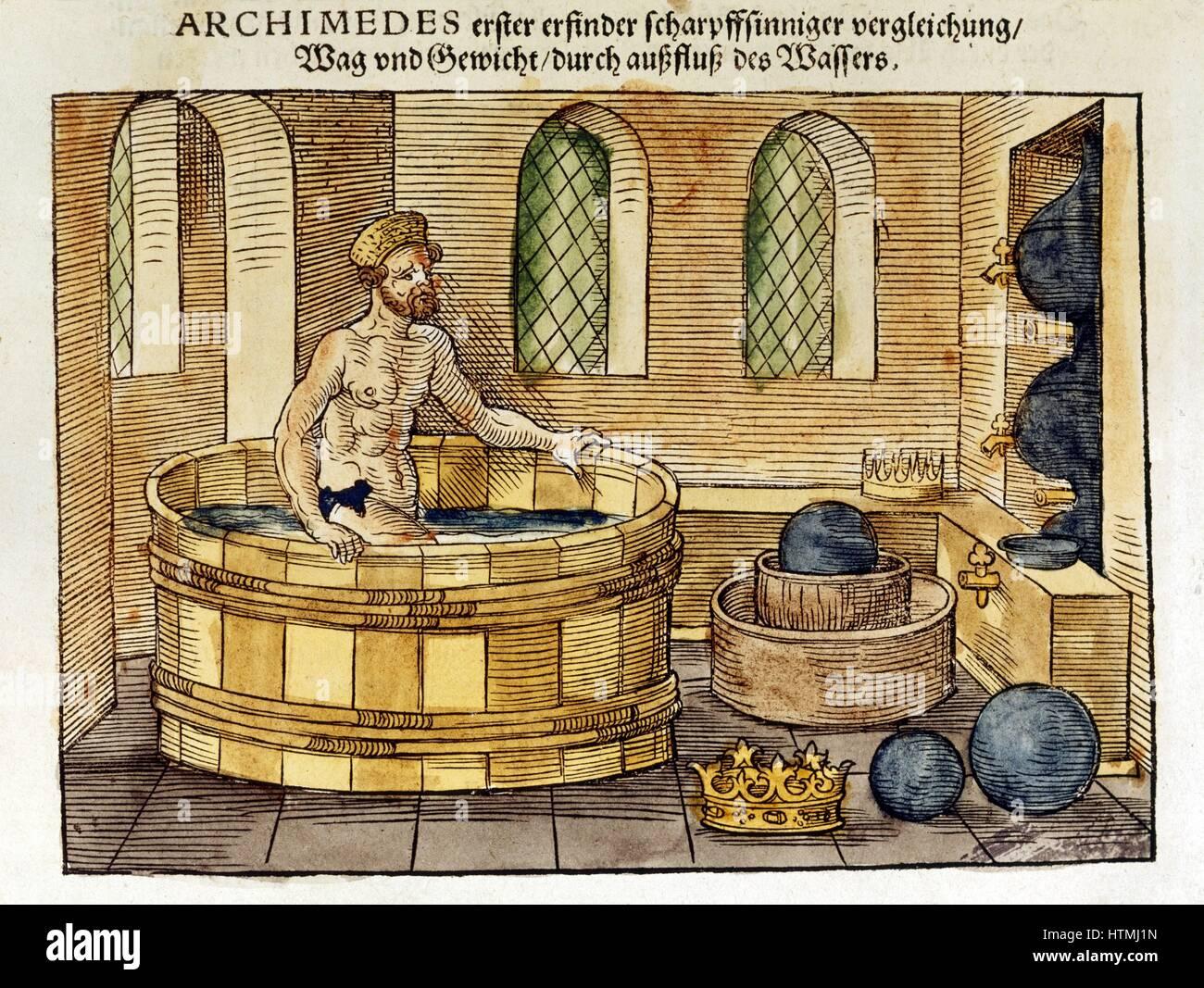 Vasca Da Bagno Volume : Archimede c.287 212 bc greco matematico e inventore nella sua