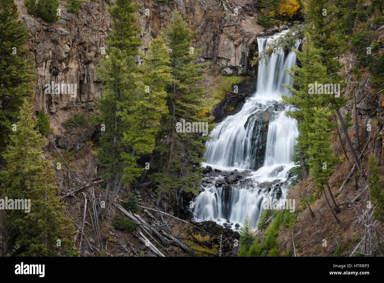 Undine Falls, il Parco Nazionale di Yellowstone, Wyoming USA Immagini Stock