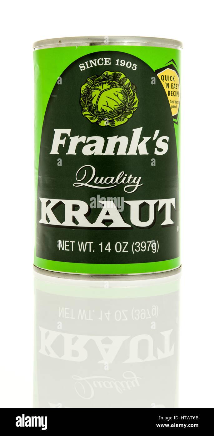 Winneconne, WI - 3 Marzo 2017: Può di Frank's sour kraut isolato su un background. Immagini Stock