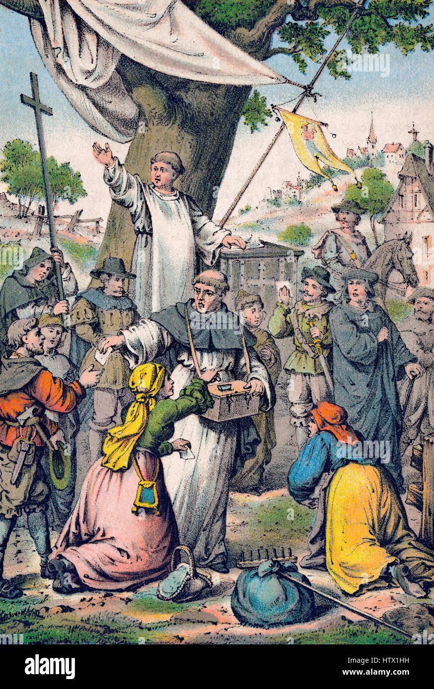 Johann Tetzel, romano cattolico tedesco, il frate domenicano e predicatore indulgenza di vendita lettere Foto Stock