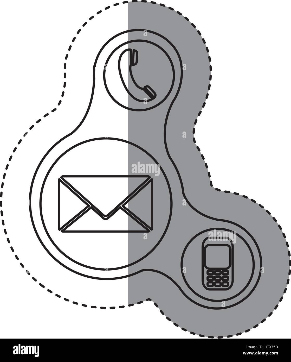 Silhouette pulsanti icone del servizio dati Immagini Stock