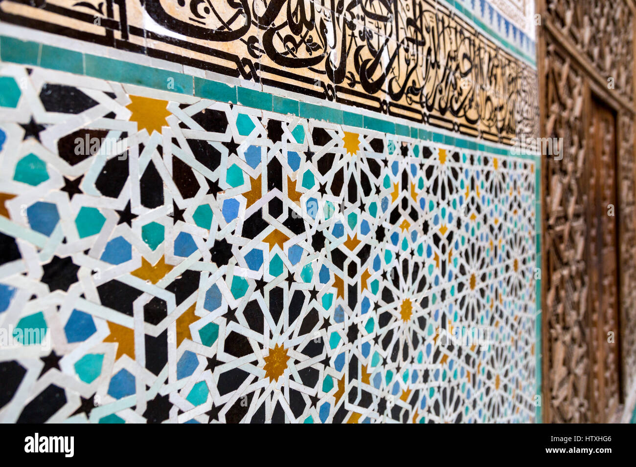 Fes marocco. medersa attarine 14th. secolo. geometrico design