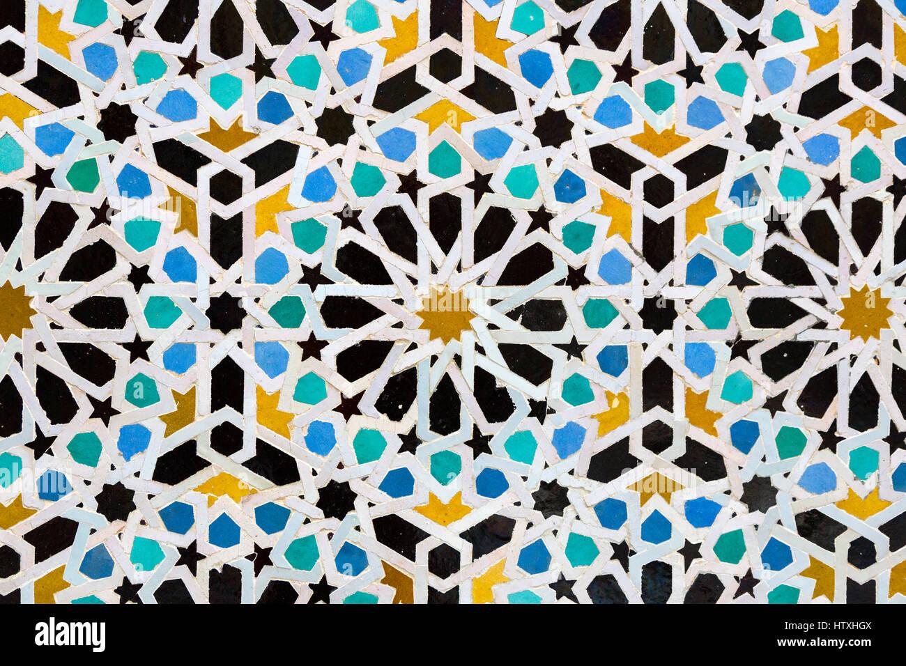 Fes marocco. medersa attarine 14th. secolo. mosaico geometrico