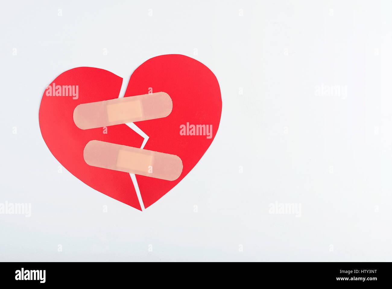 Rosso cuore spezzato Immagini Stock