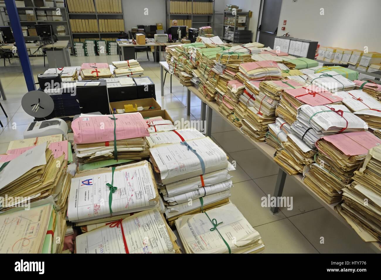 L'archivio centrale del Comune di Milano (Italia) Immagini Stock