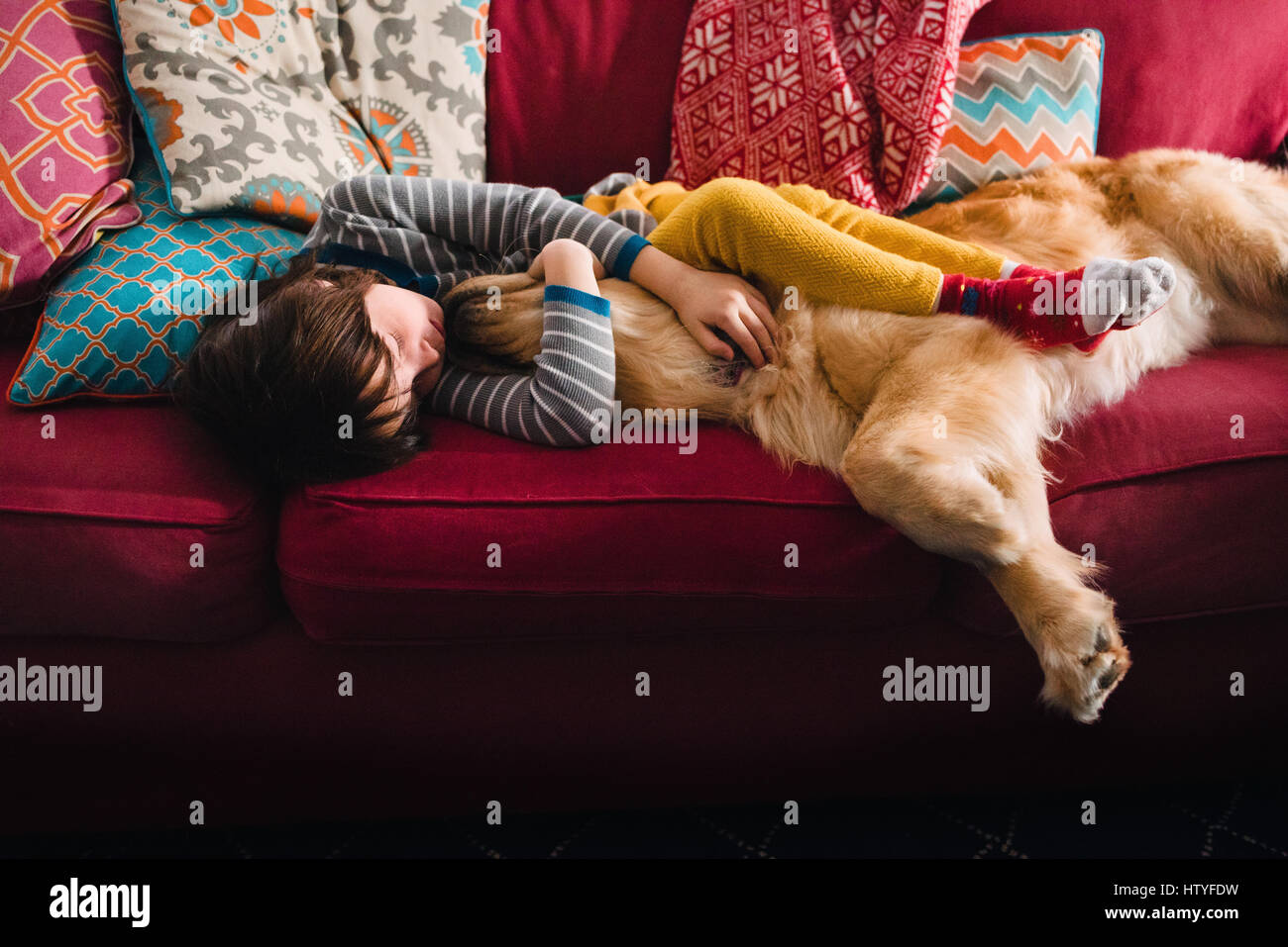 Ragazza dorme sul divano con la golden retriever cane Foto Stock