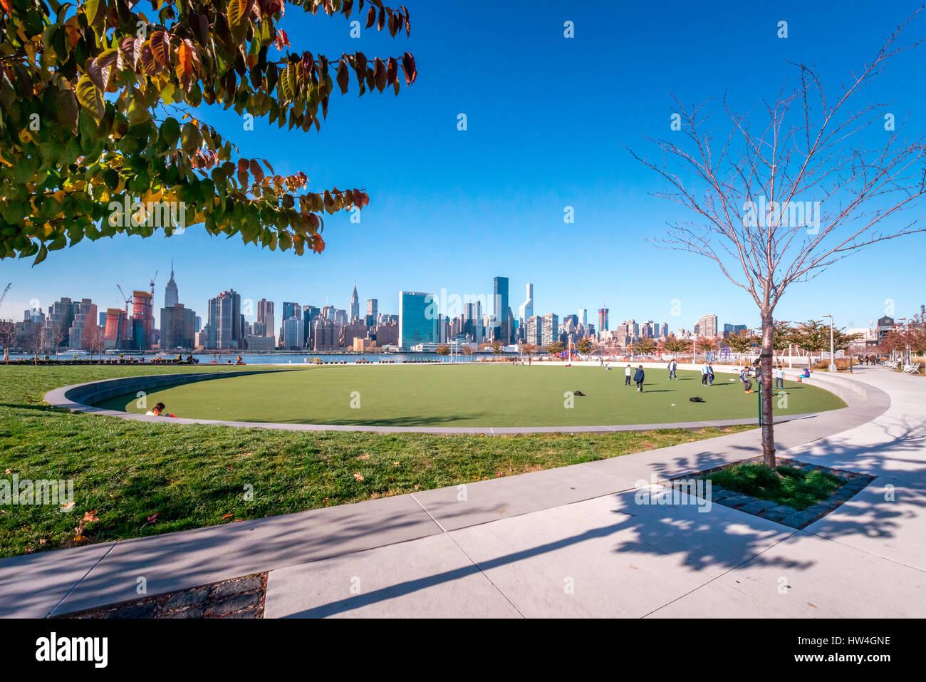 Vista esterna del Hunter's punto a sud Waterfront Park nel Long Island, New York, Stati Uniti d'America. Immagini Stock