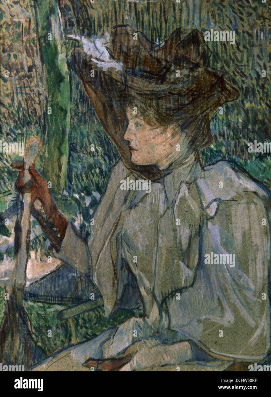 Henri de Toulouse-Lautrec (1864-1901). Pittore Francese. Post-Impressionism. Donna con guanti, 1891. Olio su cartone. Immagini Stock
