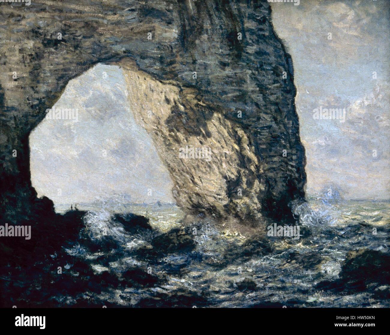 Claude Monet (1840-1926). Pittore Francese. Impressionismo. La Manneporte (Etretat), 1883. Olio su tela. Costa della Immagini Stock