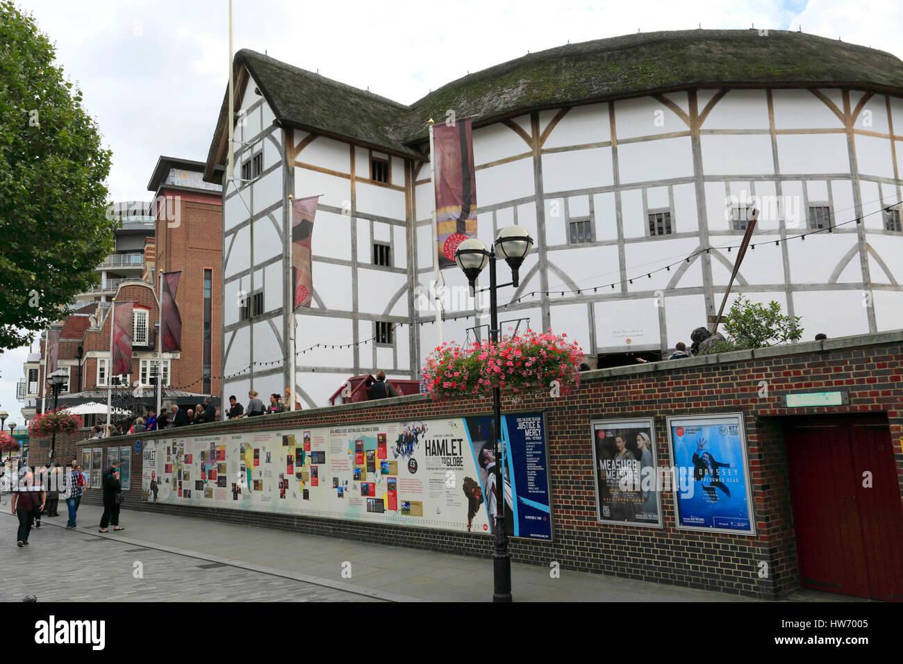 Shakespeare Globe Theatre, bankside, Southwark, South Bank di Londra city, England, Regno Unito Immagini Stock