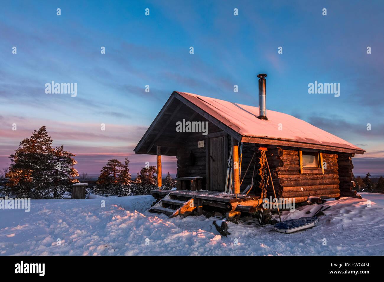 Aprire kivalo wilderness hut Immagini Stock