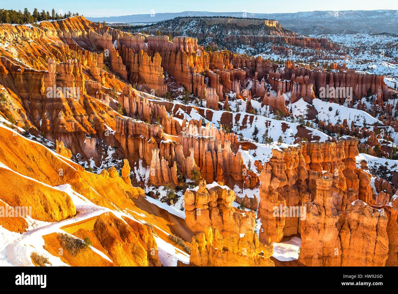 Parco Nazionale di Bryce Canyon in inverno, Utah Immagini Stock