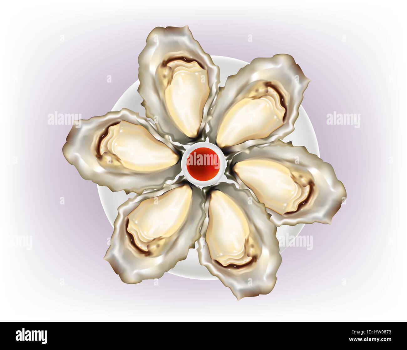 Ostriche con shell su sfondo bianco Immagini Stock