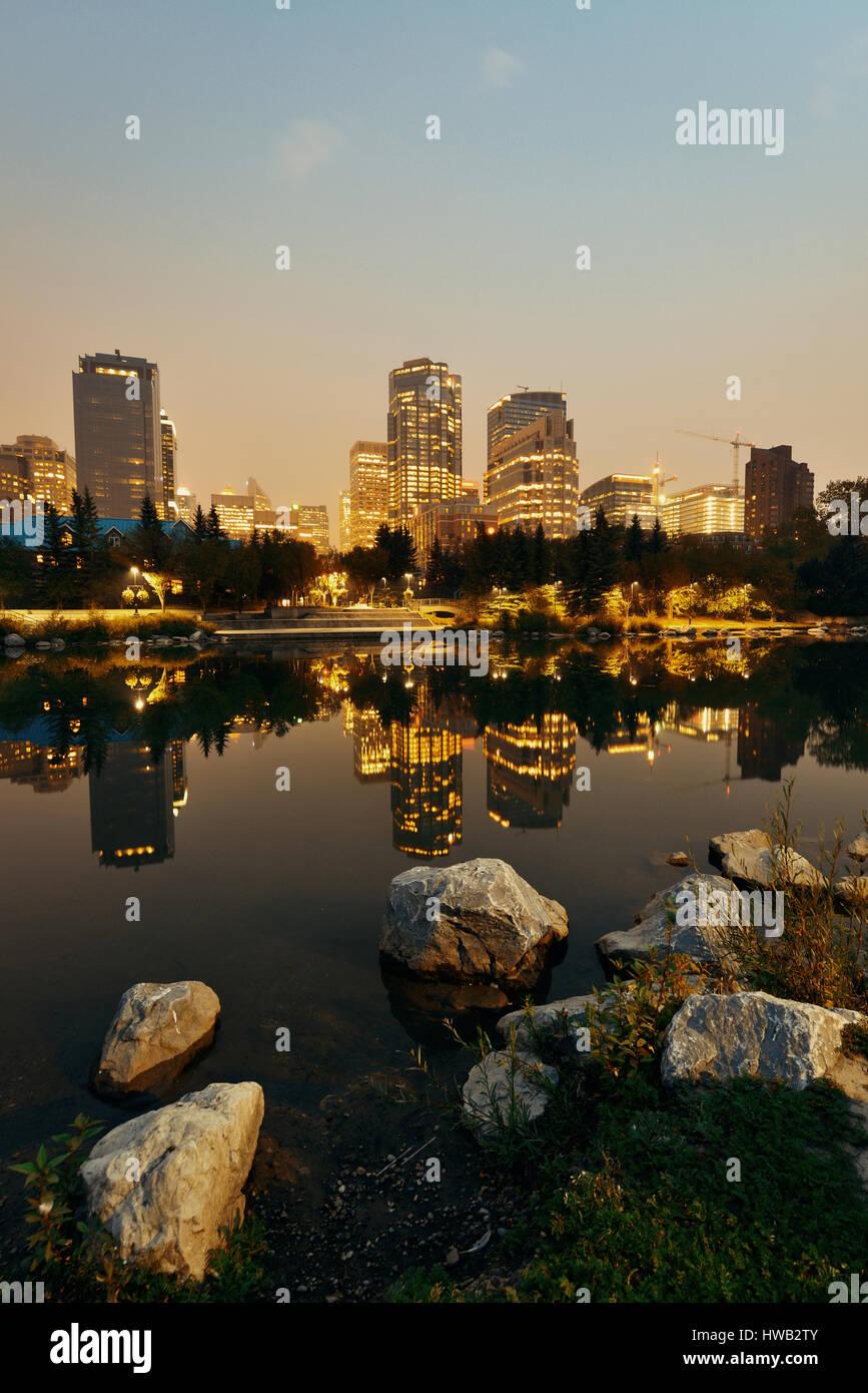 Calgary principe della isola di notte, Canada. Immagini Stock
