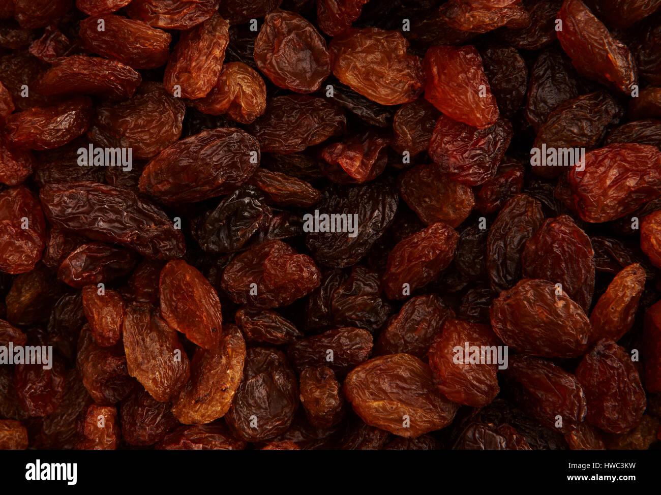 Uva sultanina,Full Frame closeup immagine di uva sultanina, di riempimento del telaio e abbastanza vicino per vedere Immagini Stock