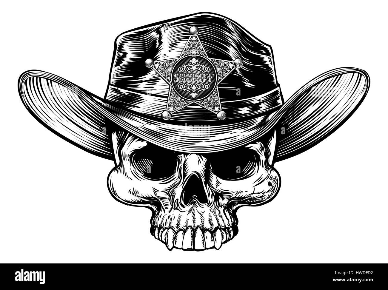 Cowboy skull wering un cappello da cowboy con una stella sheriff badge  disegno in un vintage retrò xilografia incisa o stile inciso 58127b7ae179