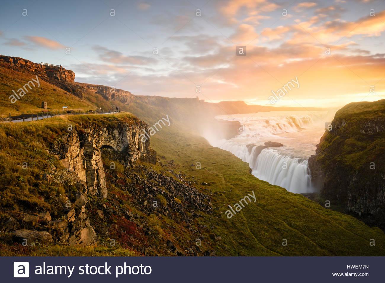 Vista panoramica, Gullfoss, Islanda Immagini Stock