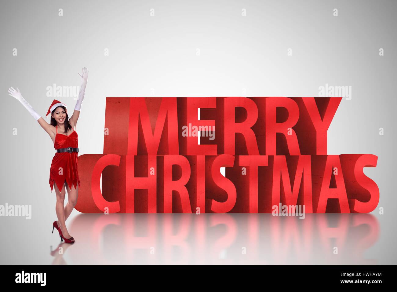 Buon Natale 3d.Bella Donna Asiatica In Piedi Con Buon Natale Testo 3d Concetto Di