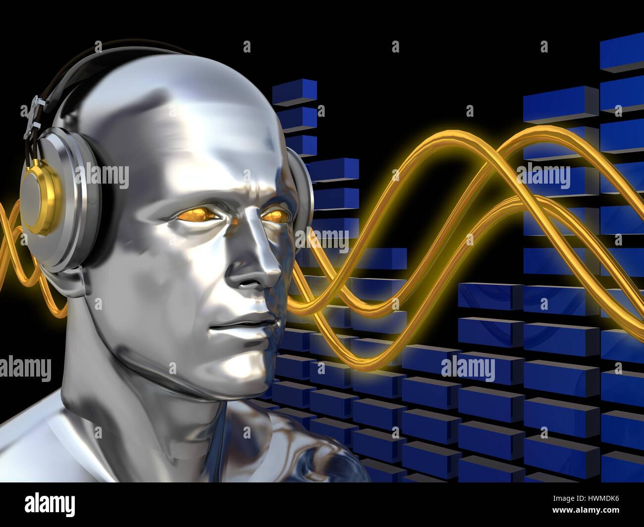 Abstract 3d illustrazione del deejay su onde sonore sullo sfondo Immagini  Stock bc3a308d70cd
