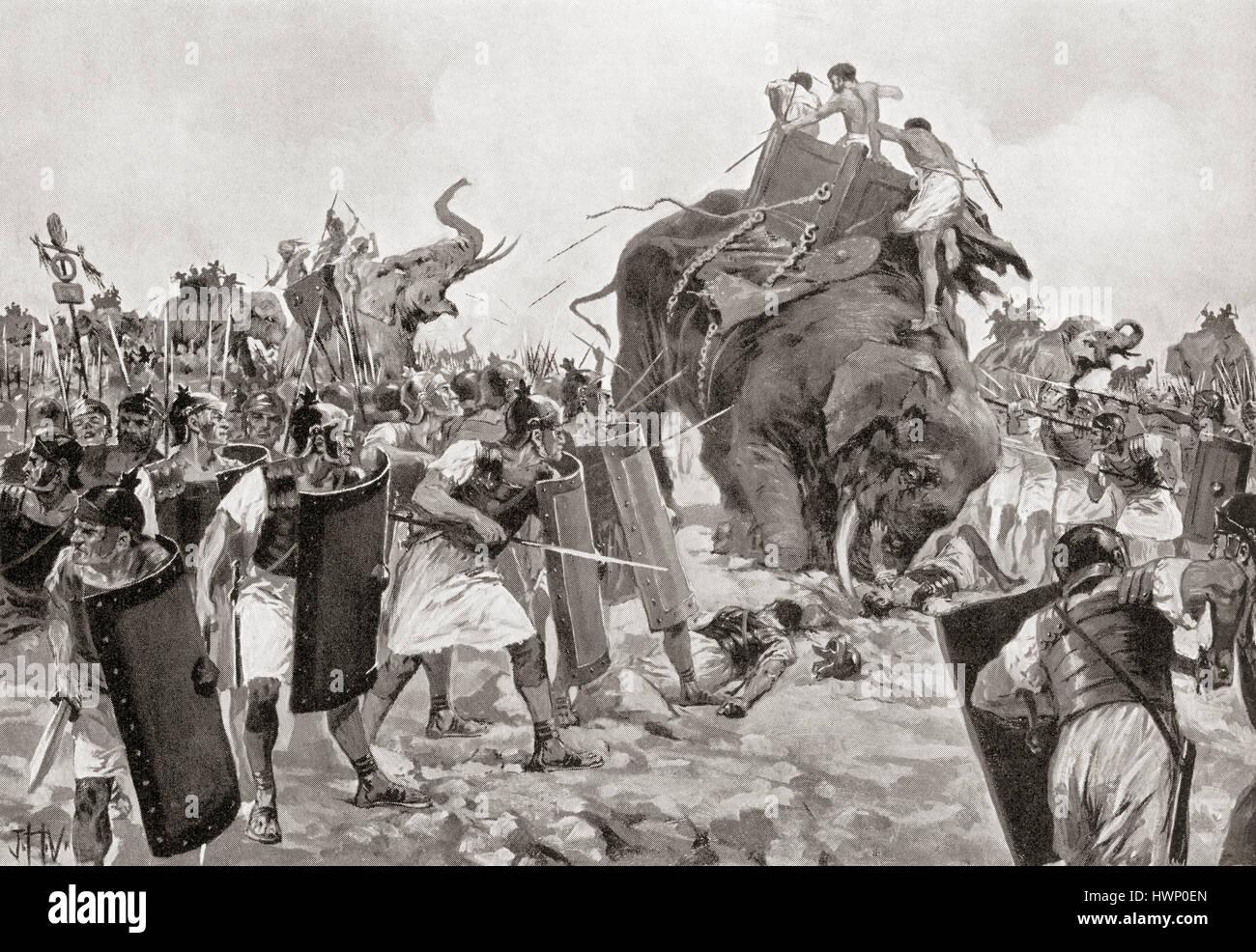 La battaglia di Zama, c. Ottobre 19, 202 BC, segnando la fine della Seconda Guerra Punica. L'esercito romano Immagini Stock