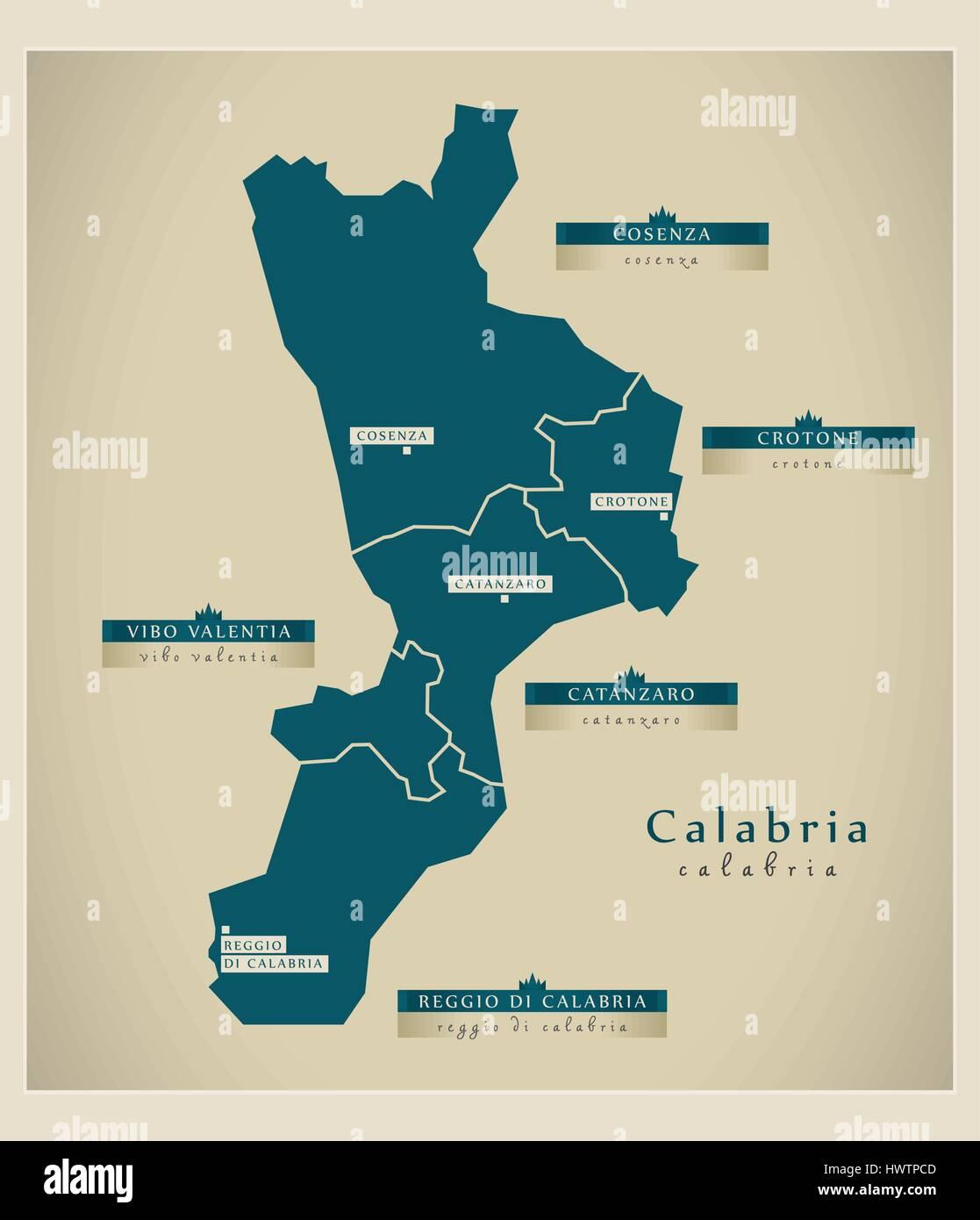 Cartina Calabria Immagini.Mappa Moderno Calabria Si Immagine E Vettoriale Alamy