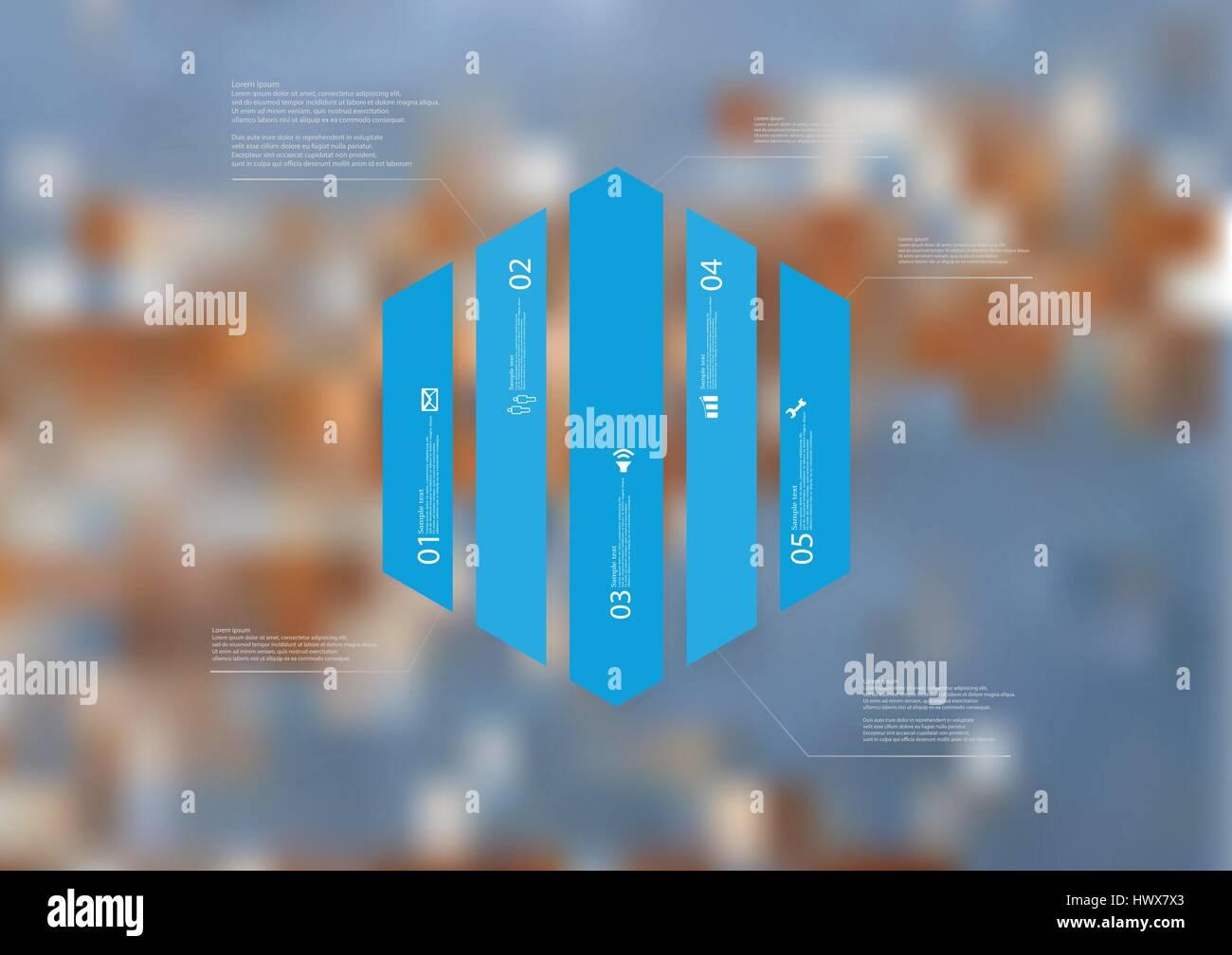 Illustrazione modello infografico con motivo di esagono diviso verticalmente a cinque blu sezioni standalone. Foto Immagini Stock