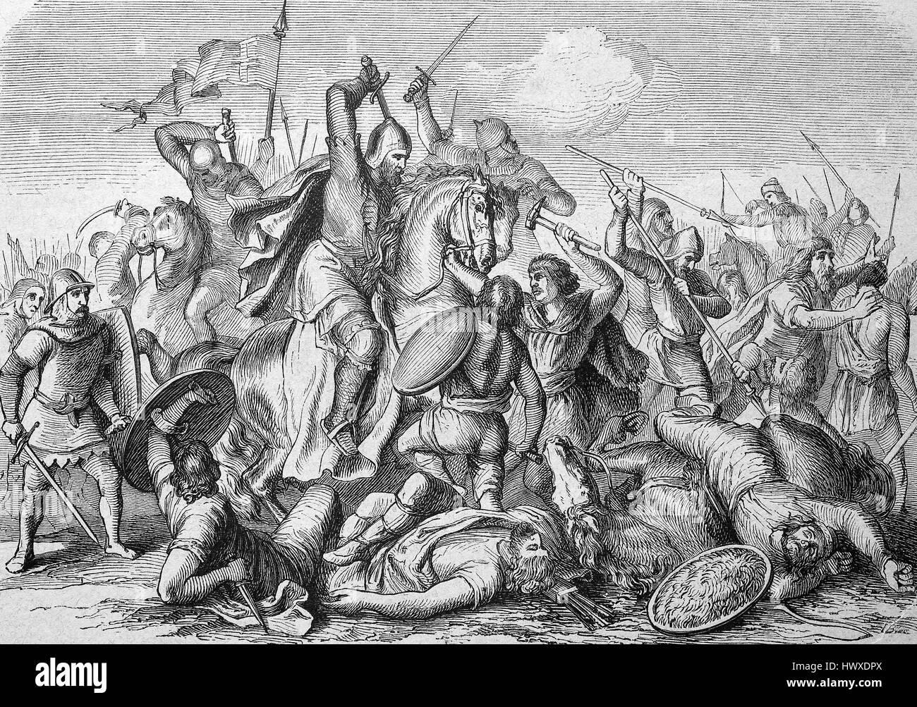 Ottone I il Grande re della Francia orientale nella battaglia di Lechfeld, 10 agosto 955, è stata una vittoria Immagini Stock