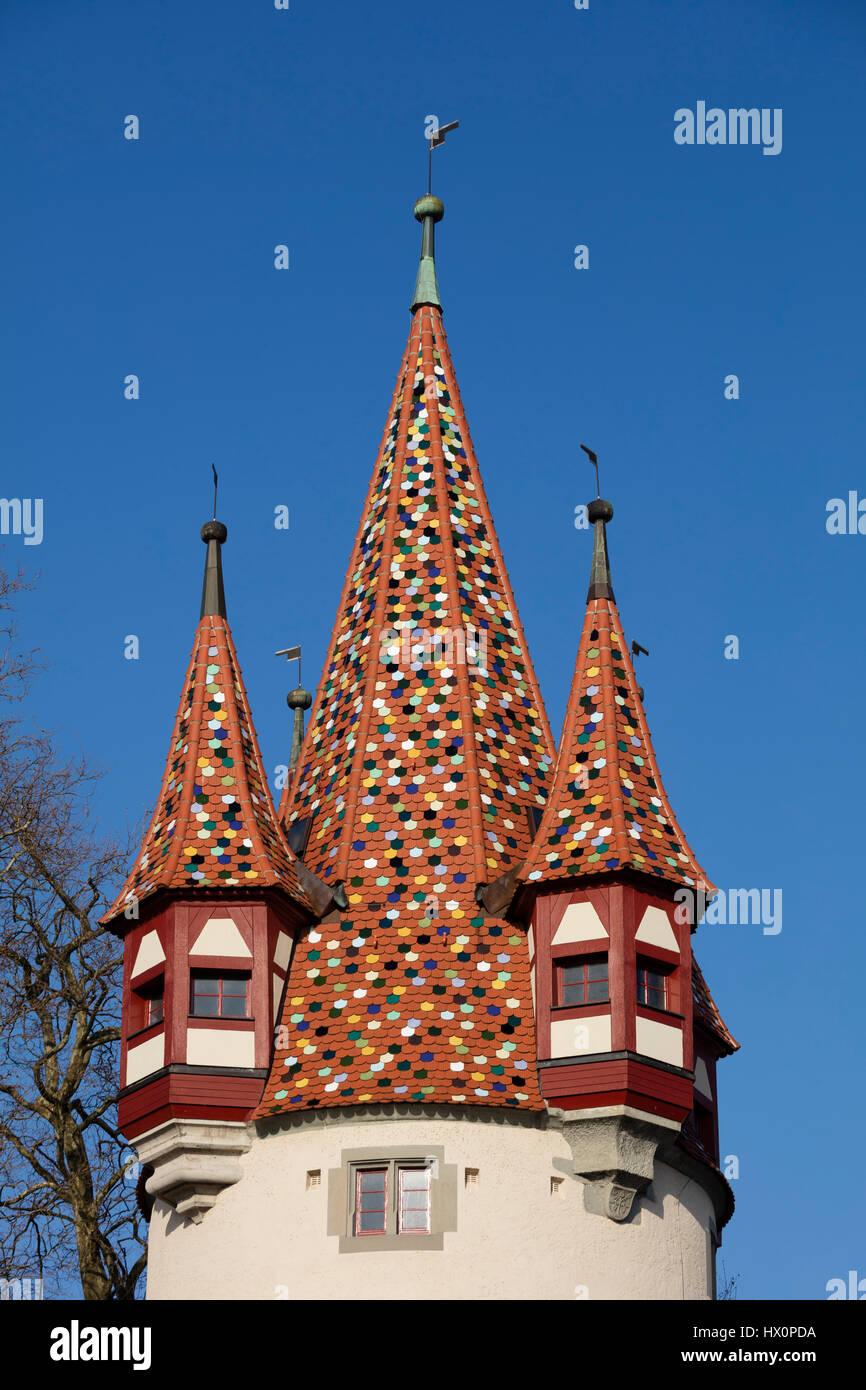 Tetto colorato su Diebsturm, Torre, Lindau, Lago di Costanza, Baviera, Germania Foto Stock