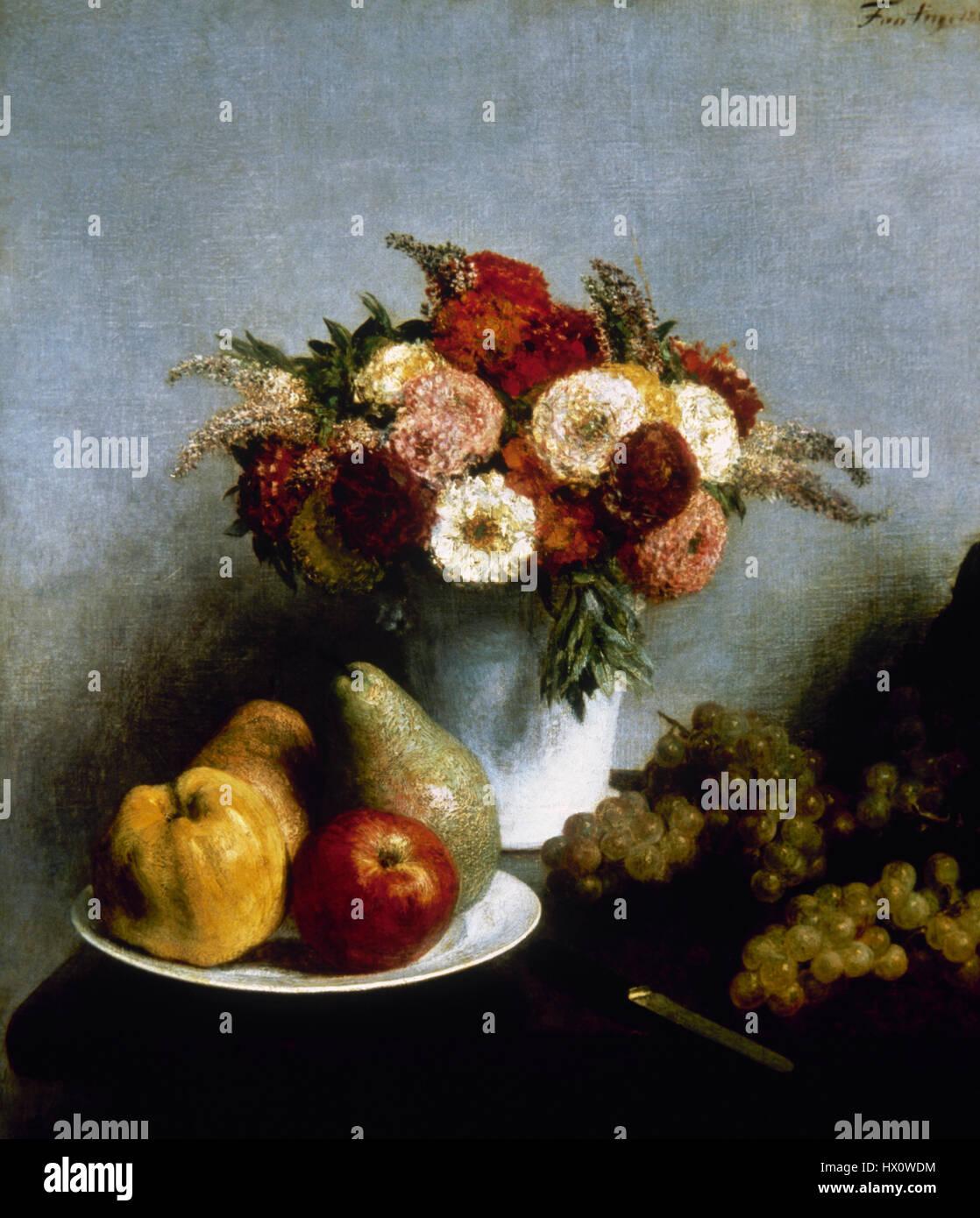 Henri Fantin-Latour (1836-1904). Pittore Francese. Fiori e Frutta, 1865. Olio su tela. Il Museo d' Orsay. Parigi. Immagini Stock