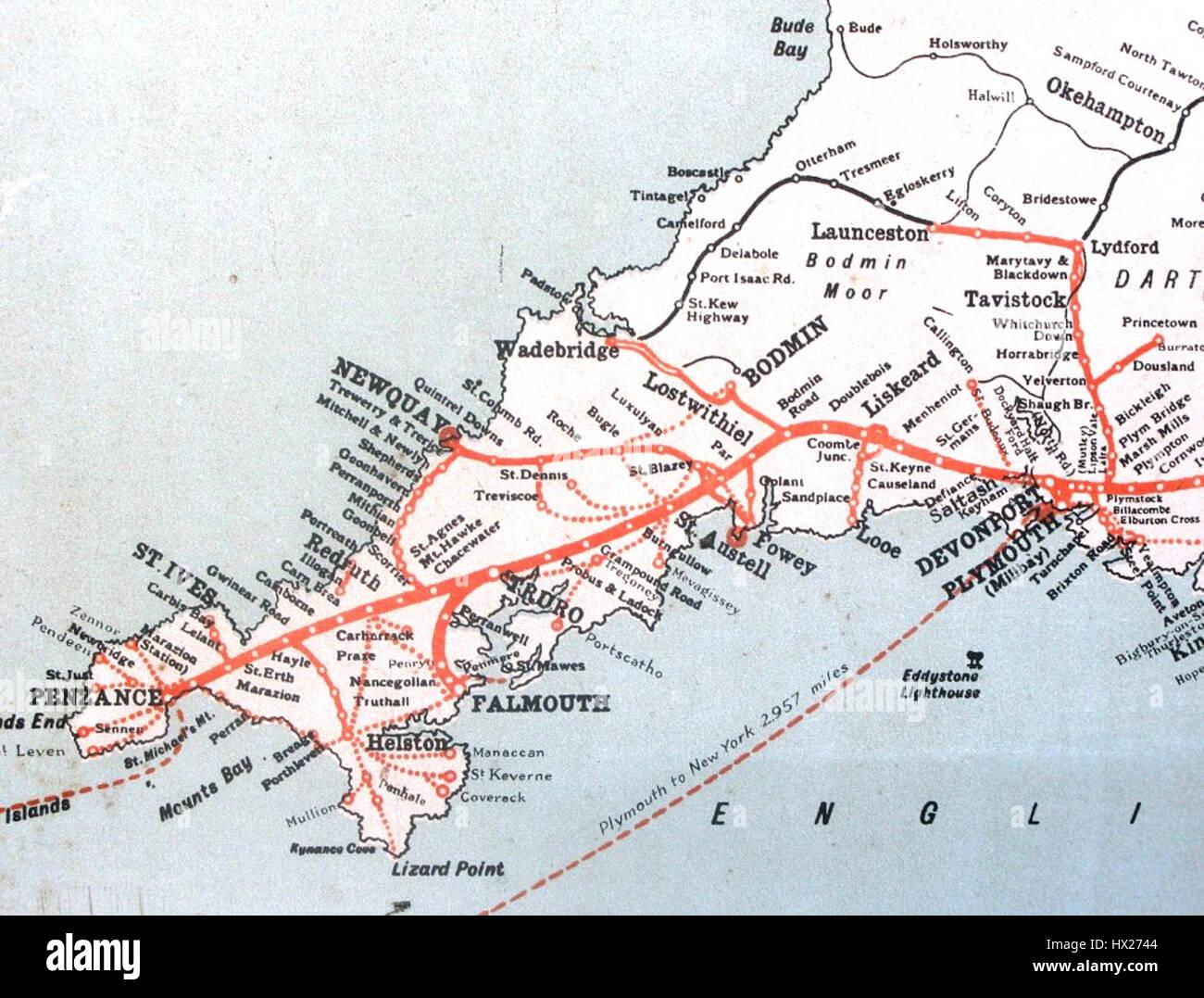 Cartina Cornovaglia.Gwr Mappa Cornovaglia Foto Immagine Stock 136503140 Alamy