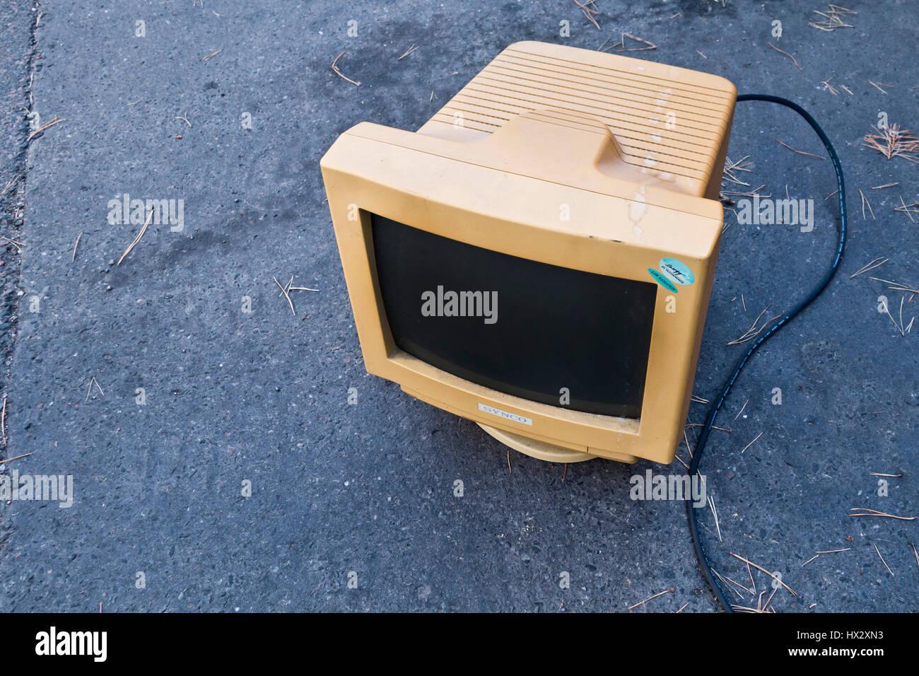 vecchio monitor CRT Immagini Stock