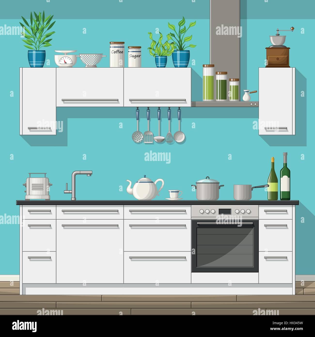 Illustrazione di accessori interni di una cucina moderna ...