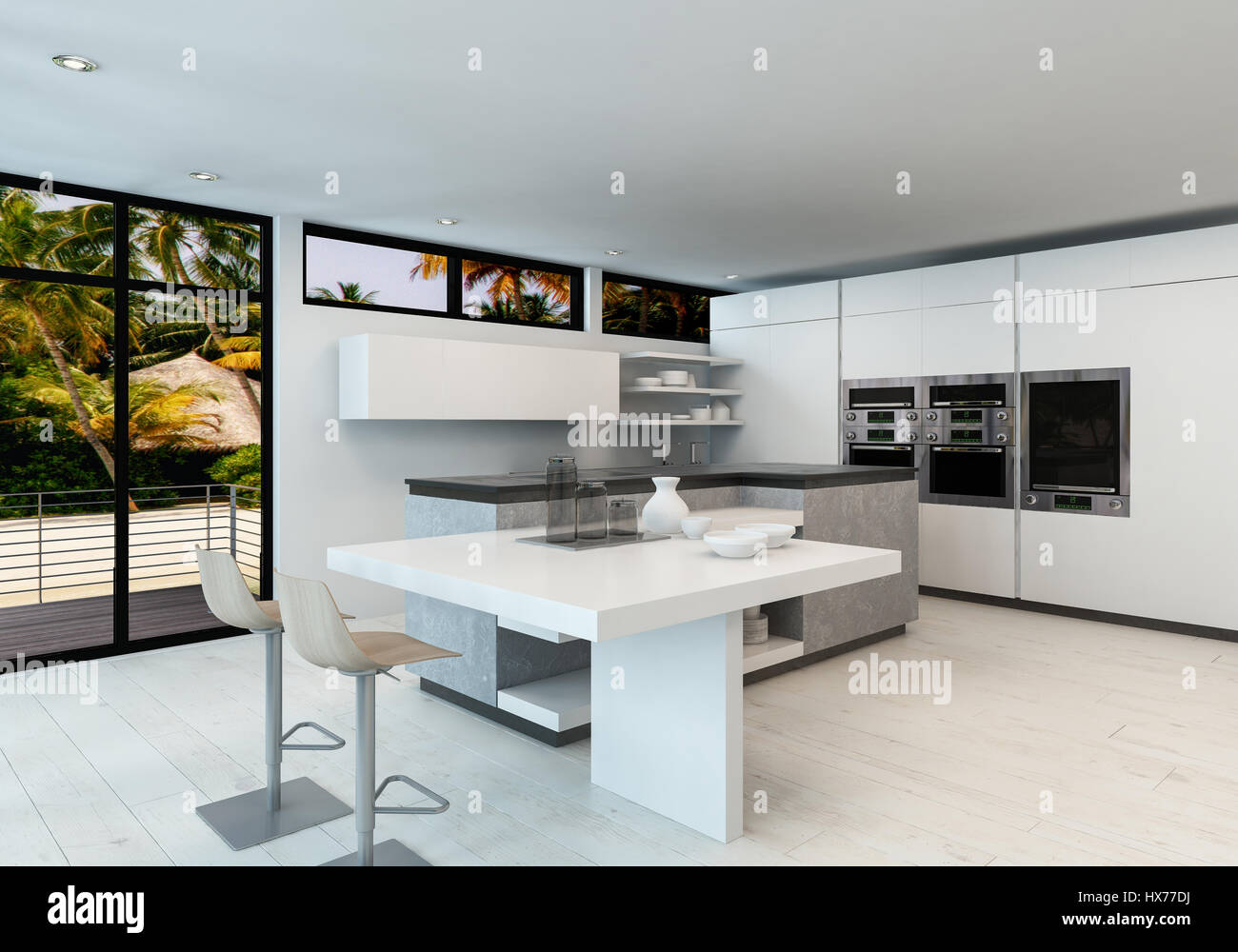 Moderno bianco pulito cucina a pianta aperta interno con bancone bar ...