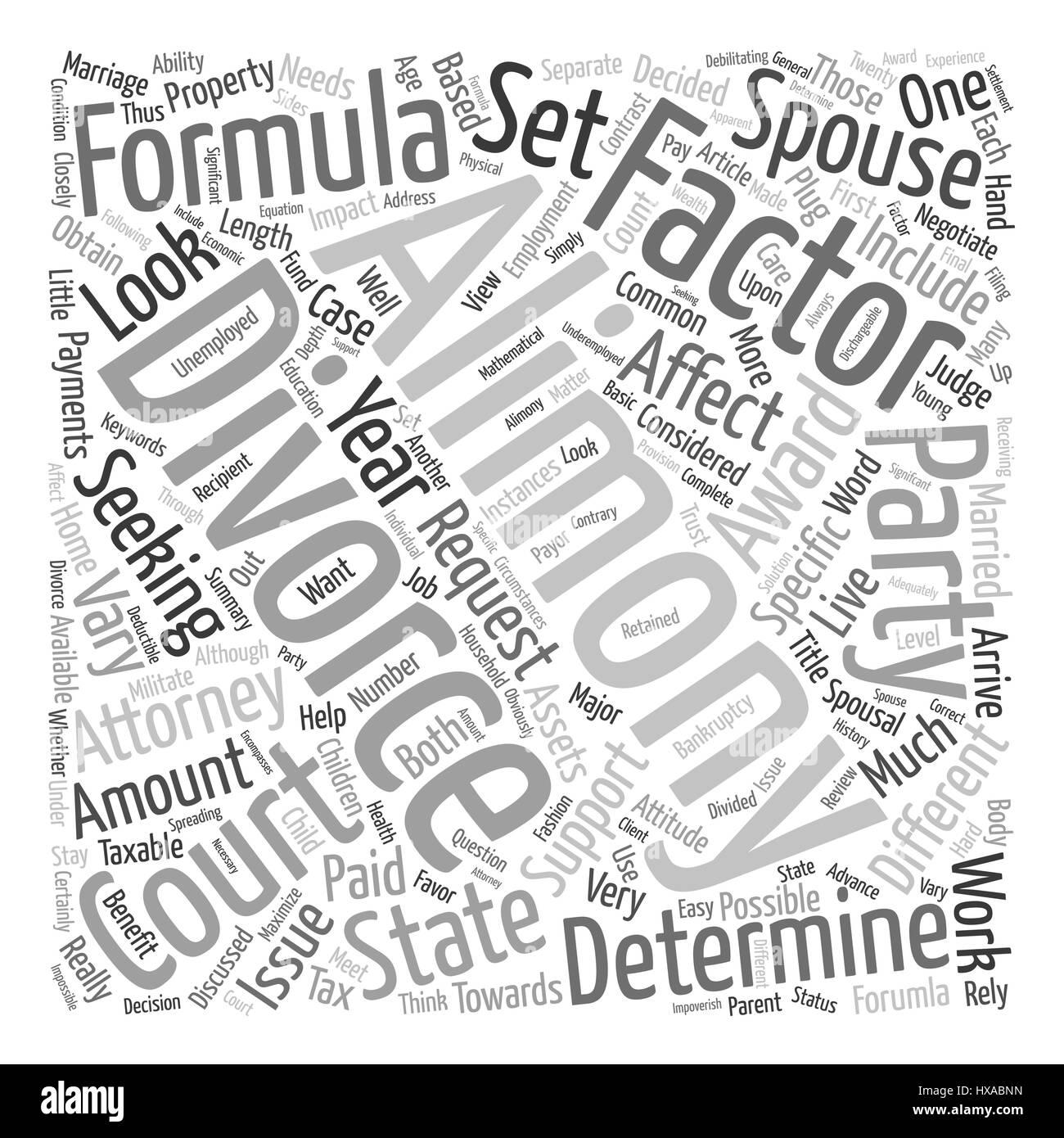 Il divorzio e la Formula di assegno alimentare dello sfondo del testo concetto wordcloud Immagini Stock