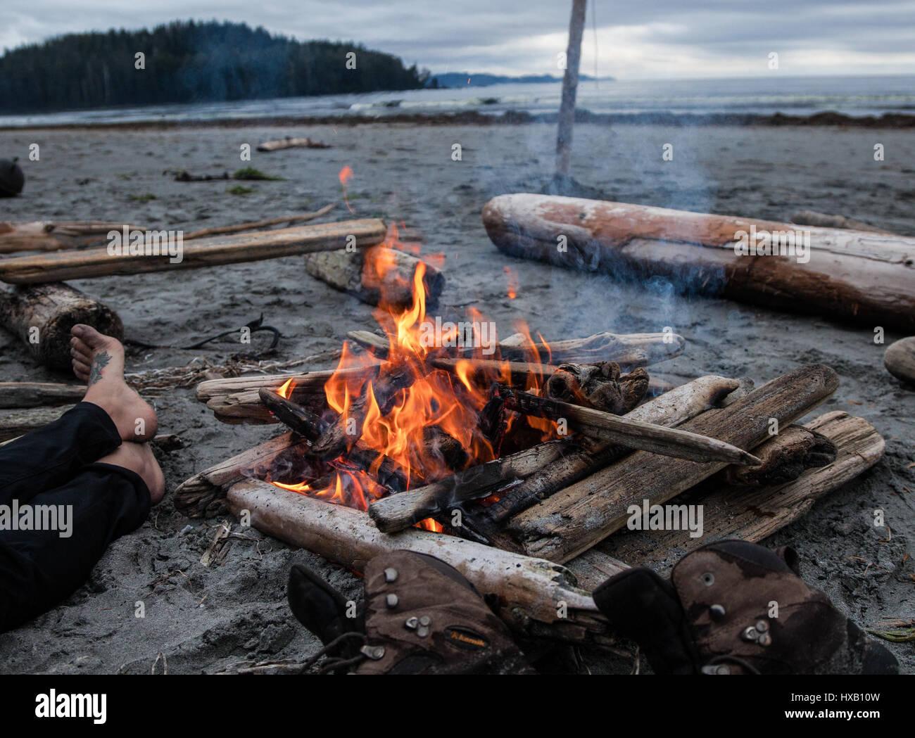 Rilassante Fireside, Cape Scott, Isola di Vancouver Immagini Stock